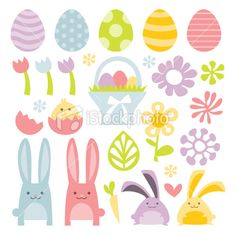 A vector illustration set of a happy, sweet and super cute easter/spring ...  vector-finder.com