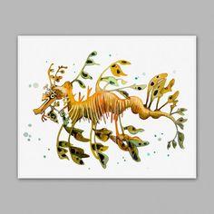 Leafy Sea Dragon Square Sticker x Leafy Sea Dragon Sticker by Little_Pig_Studios - CafePress Watercolor Fish, Watercolor Animals, Watercolor Paintings, Painting Art, Sea Creatures Drawing, Deep Sea Creatures, Leafy Sea Dragon, Book Page Art, Mermaid Art