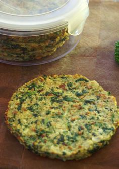 Cauliflower and spinach bread. Could be used as pizza crust as well!