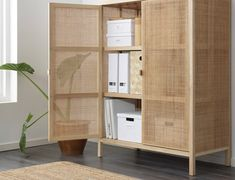 IKEA STOCKHOLM 2017 cabinet Made from rattan and ash, natural materials that age with grace. Ikea Stockholm, Stockholm 2017, Rattan Furniture, Home Furniture, Cheap Furniture, Luxury Furniture, Tall Cabinet Storage, Locker Storage, Muebles Living