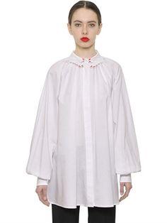 VIVETTA EMBROIDERED GATHERED COTTON POPLIN SHIRT, WHITE. #vivetta #cloth #shirts