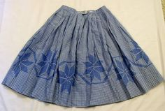 Vintage Square Dance Skirt,  Vintage Gingham Skirt, Blue and White Gingham, Vintage Skirt, Square  Dance Skirt, Chicken Scratch Embroidery, by VintagePlusCrafts on Etsy
