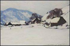 Clarence Alphonse Gagnon Ferme en hiver Canadian Painters, Canadian Artists, Clarence Gagnon, Winter Trees, Winter Landscape, Art Auction, Artist Art, Aldo, Landscape Paintings
