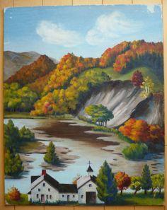 VINTAGE LANDSCAPE NEW ENGLAND BOSTON MA IMPRESSIONIST FOLK MYSTERY OIL PAINTING #Impressionism