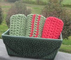 Handmade Washcloths Dishcloths Qty of 3 Red and by LeftoverStuff, $10.00