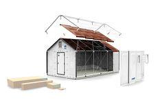 Maisons en kit produites par Ikéa en partenariat avec l'Agence des nations unies pour les réfugiés (UNCHR). Montage = 4heures, pérennité = 5 ans, surface = 17,5m2. Composants : murs en plastique et toi photo-réceptif pour alimenter l'abri en électricité.