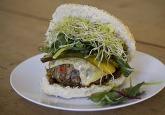 Brown lentils are spiced with red chili and thyme, topped with alfalfa sprouts and served on a poppy seed bun. These burgers are great on the grill and so hearty even the most devout carnivores will be singing the praises of the mighty lentil.