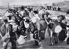 Hundreds of thousands of refugees flee south during the Korean War