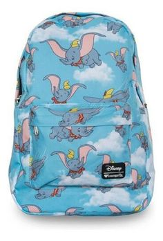 Loungefly Disney Dumbo the Elephant Flying Blue Girls' School Backpack – moodswingsonthenet