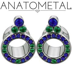 """7/16"""" Cluster Eyelets in ASTM F-136 titanium with synthetic Emerald and synthetic Opal #52 gems"""