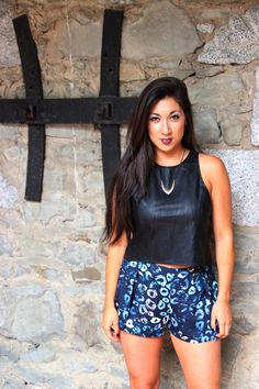 Leopard print shorts and leather crop top