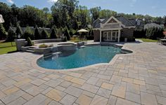 Techo-bloc Inca paver in Riviera-- these are the pavers we're doing our patio in but with accent blocks that look like pebbles. :)