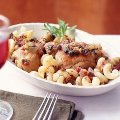 For this classic Italian chicken dish, simmer chicken pieces in a hearty mixture of onion, tomato, and celery flavored with capers, olives and fresh herbs and serve over pasta.