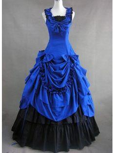 Elegant Blue and Black Bow Ruffled Gothic Victorian Dress