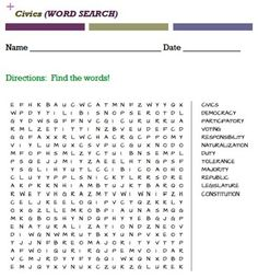 20 word searches: 1.Independence Day2.Cesar Chavez3.Executive Branch4.Judicial Branch5.Legislative Branch6.Martin Luther King Jr. 7.Military8.First Amendment9.Civics10.Branches of Govt11.Elections12.Civil War13.Declaration of Independence 14.Democracy 15.Law and Justice16.Voting17.World religions18.WW119.WW2 Allies20.WW2 leaders