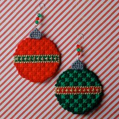 """Plastic Canvas: Christmas Ball Ornaments (set of 2) -- """"Ready, Set, Sew!"""" by Evie"""