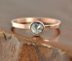Black Rose Cut Diamond Ring 14k Rose Gold by PointNoPointStudio
