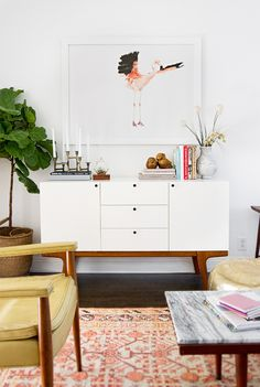 Sideboard of a living room. Making white + wood look clean and modern