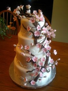 cherry blossom cake By ctirella on CakeCentral.com  www.facebook.com/SweetInspirations2012.