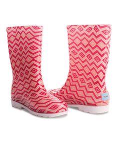 Look what I found on #zulily! Pink Chevron Rain Boot - Youth #zulilyfinds