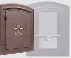 Locking Column Mailbox (fleur de lis) Antique Copper (stucco column purchased seperately)