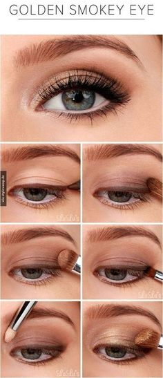 Golden Smokey Eye Make-up Tutorial! :-) Golden Smokey Eye Make-up Tutorial! Smokey Eyeshadow Tutorial, Eyeshadow Tutorial For Beginners, Video Tutorials, Beauty Tutorials, Eye Makeup Tutorials, Make Up Tutorials, Beginner Makeup Tutorial, Eyeshadow Step By Step, Eye Shadow For Beginners