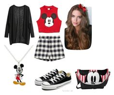 """""""Mickey Mouse"""" by inna-rizhkova ❤ liked on Polyvore featuring Zara, Forever 21, Converse and Disney"""