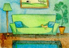 Original ACEO Painting  Living room in blue and by PainterNik, $35.00
