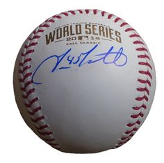 SF Giants Travis Ishikawa signed Rawlings 2014 World Series official game baseball w/ proof photo.  Proof photo of Travis signing will be included with your purchase along with a COA issued from Southwestconnection-Memorabilia, guaranteeing the item to pass authentication services from PSA/DNA or JSA. Free USPS shipping. www.AutographedwithProof.com is your one stop for autographed collectibles from San Francisco Bay Area teams. Check back with us often, as we are always obtaining new items.