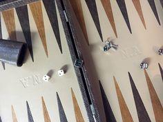 Backgammon cuir tressé moka - Personnalisation client