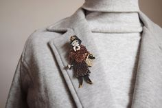 Brown leather pin figural brooch best friend gift by Glad2Balive