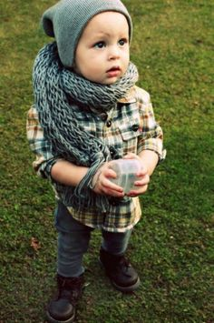 Love the chunky scarf for a little guy!