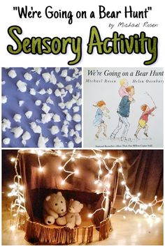 """Educational ideas for kids, parents and teachers. Hands-on activities for kids including """"We're Going on a Bear Hunt"""" sensory walk adventure. Art Activities For Toddlers, Outdoor Activities For Kids, Sensory Activities, Hands On Activities, Infant Activities, Toddler Learning, Preschool Learning, Fun Learning, Learning Activities"""