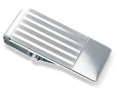 Pin Striped Hinged Money Clip in Sterling Silver #BlueNile
