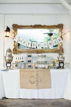 wedding coffee bar via 7 Things Every Wedding Coffee Bar Needs to Have