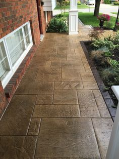 Stamped concrete walkway.