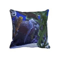 Fabulous seahorse image by Laurie Perry on a cushion.