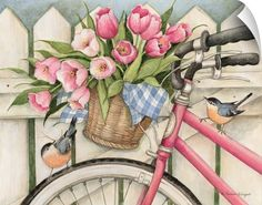 Spring illustration wall art - Bike with Flowers by Susan Winget available at Great BIG Canvas Spring Drawing, Spring Art, Spring Painting, Bicycle Painting, Bicycle Art, Canvas Wall Art, Wall Art Prints, Big Canvas, Framed Prints