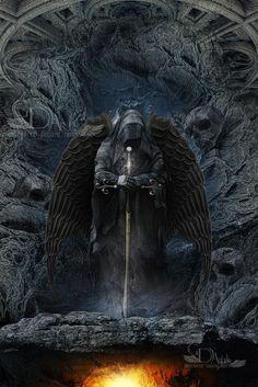 Guardian of fire ( the darkside of hell ) by greenfeed on DeviantArt Grim Reaper Art, Grim Reaper Tattoo, Don't Fear The Reaper, Dark Fantasy Art, Dark Art, Angel Of Death Tattoo, Archangel Tattoo, Dark Souls Art, Warrior Tattoos