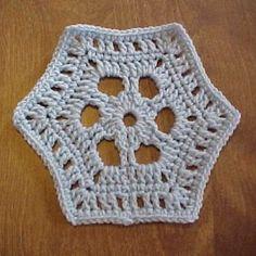 Crystal Hexagon Motif - A free Crochet pattern from jpfun.com.