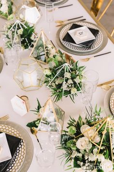 50 Glam Geometric & Terrarium Wedding Ideas 50 Glam Geometric & Terrarium Wedding Ideas gold and greenery modern wedding centerpiece ideas with geometry Modern Wedding Centerpieces, Gold Wedding Decorations, Flower Centerpieces, Ceremony Decorations, Centerpiece Ideas, Terrarium Wedding Centerpiece, Wedding Tables, Centrepieces, Decor Wedding
