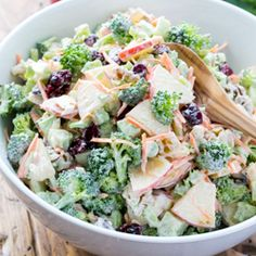 fresh broccoli and apple salad