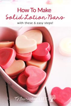 [ Natural DIY Hair Care Recipes : These sweet little lotion bars are the perfect romantic gift for your skin. With a blend of natural ingredients like Homemade Moisturizer, Homemade Skin Care, Diy Skin Care, Homemade Beauty, Diy Lotion, Lotion Bars, Hair Care Recipes, Lotion Recipe, Soap Recipes
