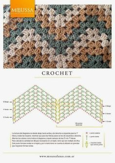 This is an awesome zig zag pattern to crochet. You can do this pattern with a treble crochet, a double crochet, or a half-double crochet. Point Granny Au Crochet, Crochet Ripple, Crochet Diy, Crochet Squares, Crochet Motif, Crochet Zigzag, Manta Crochet, Crochet Flower, Granny Squares