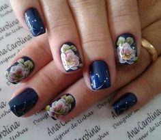 Unhas Nails Esmaltes Decorada Flores Azul