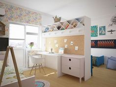 Kids room:Playful Kids Room Design Ideas Study Nook Kids Room As Divider Ideas With Floral Theme Wallpaper And Natural Wood Flooring Colorful Kids Room Interior Plus Kid Storage Ideas And Creative Book Shelf Design Sister Bedroom, Girls Bedroom, Childs Bedroom, Boy And Girl Shared Room, Sibling Room, Child Room, Bedroom Divider, Room Divider Bookcase, Room Dividers