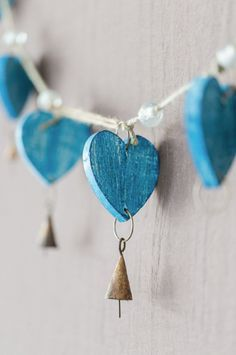 Turquoise blue heart and brass garland I Love Heart, Happy Heart, My Heart, Crazy Heart, Rebel Heart, My Funny Valentine, Valentines, Heart Garland, Heart Crafts