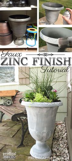 DIY How to Create a Faux Zinc Finish on inexpensive outdoor planters and containers