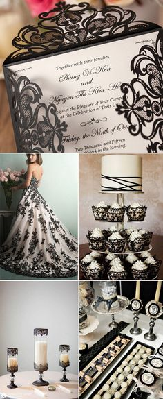 black and white vintage lace wedding ideas and wedding invitations. Darker than my style but pretty!
