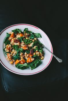Kale, brown rice butternut squash and peacan salad